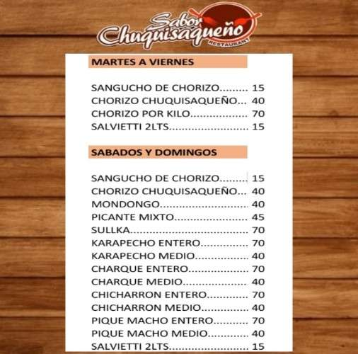 Sabor chuquisaqueño menu636306629