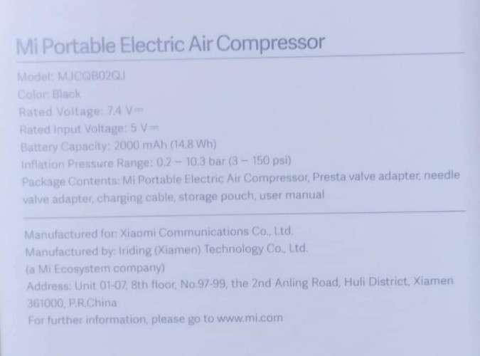 Inflador electrónico xiaomi 2020401827472