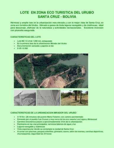 Lote  en zona eco turistica del urubo 782122348