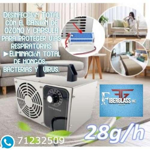 Desinfección total con el cañón de ozono y capsula para proteger vías respiratorias238694158