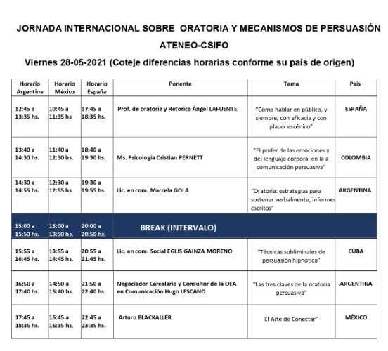 Jornada internacional de oratoria, mecanismos de persuasión, 100 % online por zoom858721990