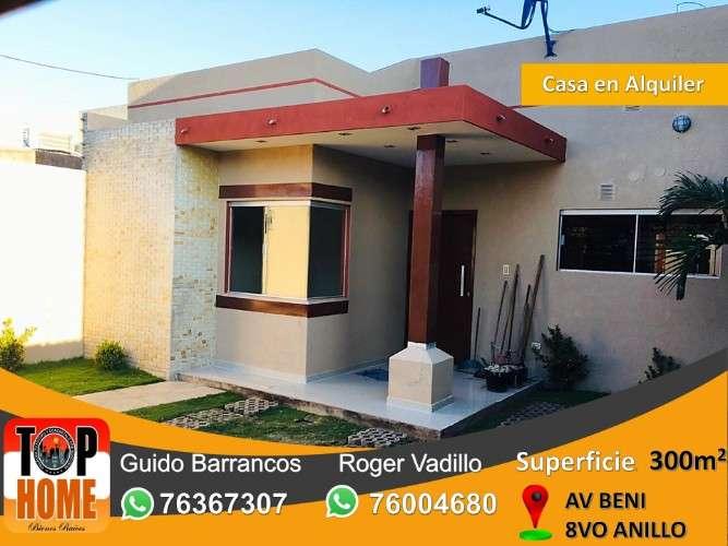 Nueva y hermosa casa en alquiler 8vo anillo av beni2052612448