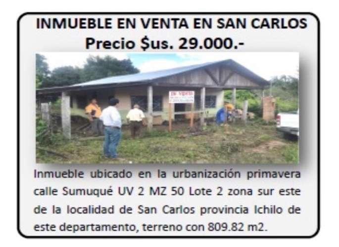 Vendo En San Carlos Provincia Ichilo Cas